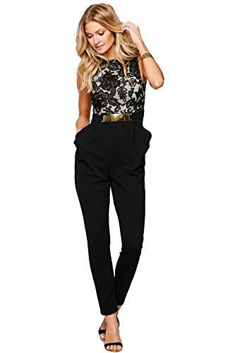 emmarcon Tuta Lunga Jumpsuit Elegante con Pizzo Floreale Schiena Scoperta Abito Vestito Cerimonia Donna -Black-IT40-42/M