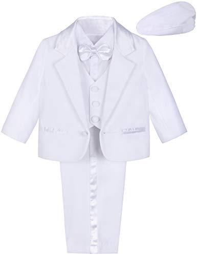 mintgreen Vestito Battesimo Neonato Maschio, 5 Pz Smoking Abito da Sposa Vestito Formale con Cappello, Bianco, 9-12 Mesi