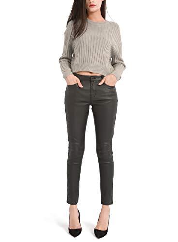 Bamans Damen Leder Leggings Leder Schwarz Skinny Super Elastic Look Hose Stretch Push Up Hose(Black,Medium)