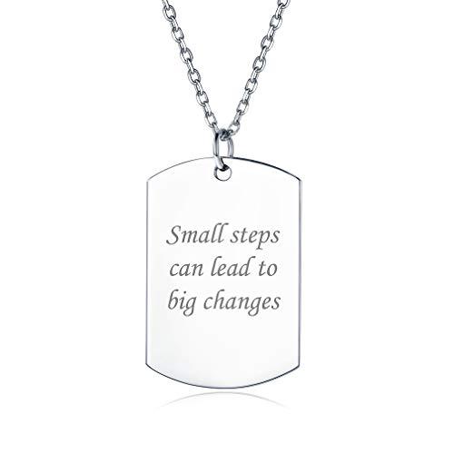 Placa Militar de Identidad Plata de Ley 925 Collar Personalizado con Letras Grabadas Cadena Elegante Delgada Joyería Moderna para Familia Madre Hija