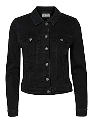 Vero Moda Vmhot SOYA LS Denim Jacket Mix Noos Chaqueta, Negro (Black Black), 38 (Talla del Fabricante: Small) para Mujer