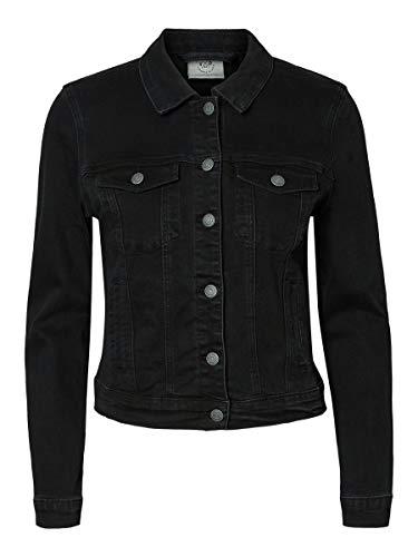 Vero Moda VMHOT SOYA LS Denim Jacket Mix Noos Giacca, Nero (Black Black), 46 (Taglia Produttore: Large) Donna