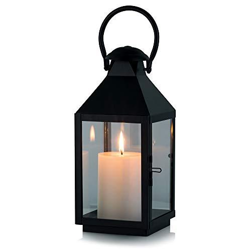 Farol Retro del Hierro labrado, lámpara de portavela de Cristal del hogar/del Patio, Farol portátil de Cristal, Linterna de Boda/Fiesta (1 Pcs)