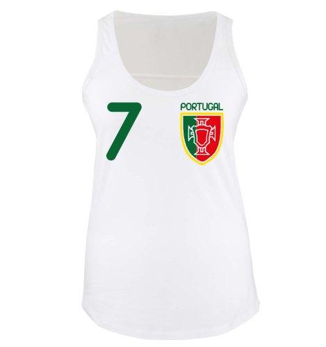 Comedy Shirts - Portugal - VORNE - 7 - Damen Tank-Top - Weiss/Grün-Rot-Gelb Gr. M