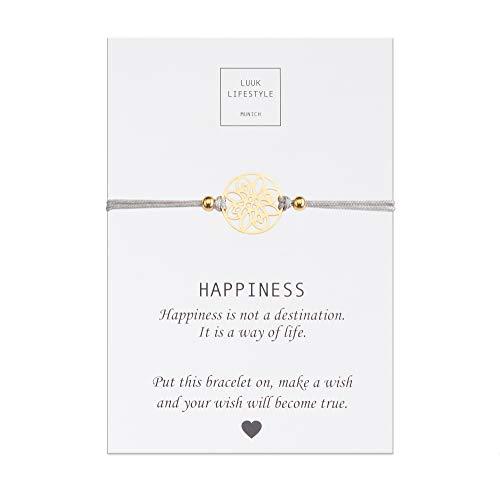 LUUK LIFESTYLE Filigranes Textil Armband mit Blume Anhänger und Happiness Spruchkarte, Glücksbringer, Frauen Armband, beige, Hellbraun, grau, Gold