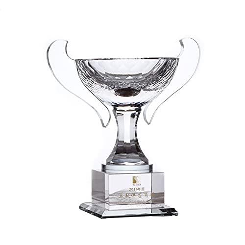 Trofeos de Cristal, tazón de artesanía Personalizado, Letras Personalizadas, premios creativos para competiciones a Gran Escala, Recuerdos de Campeonato (Color : Clear, Size : 24 * 23 * 14cm)