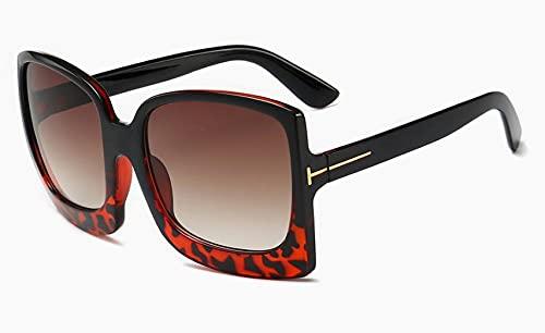 DLSM Gafas de Sol de Ojo de Gato Femenino Vintage Marcos Grandes Leopardo Gafas de Sol Femenino Lady Shades UV400 Gafas de Sol-C8 Leopardo
