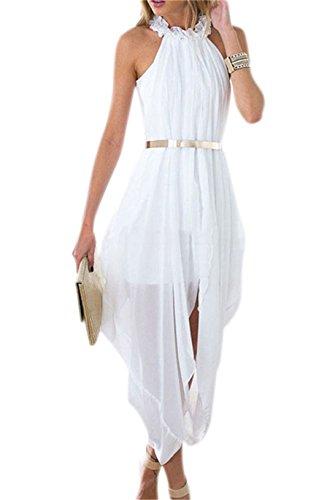 Women's Sheer Chiffon Folds Hi Low Loose Dress Delicate Gold Belt Outer Maxi Inner Mini (White, X-Large)