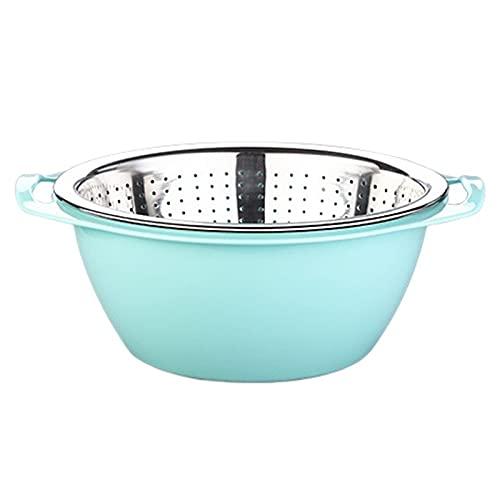 PPuujia Doppel-Ablauf-Sieb für Reis, Sieb, Schüssel, Küchensieb, Nudeln, Obst, Wäschekorb für Reis (Farbe: 20 cm)
