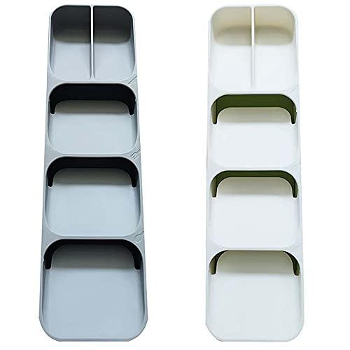 Yemiany bandeja cubiertos, guarda cubiertos cubertero para cajon pequeño, Resistente y duradero, ahorra espacio, adecuado para cocinas, escritorios y otros lugares. 2piezas (11.5x40x5.5 cm)