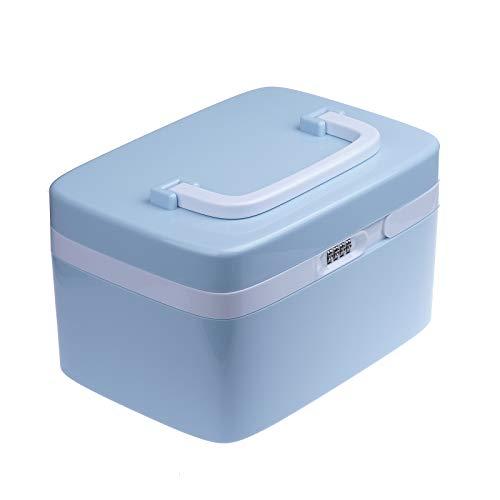 Vinteky® Medizinbox Erste Hilfe Kasten 27,8 * 19,7 * 16 cm Aufbewahrungsbox mit Griff First Aid Box - blau
