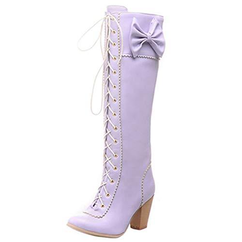 CuteFlats Damen Blockabsatz Langschaft Stiefel mit Bogen (Violett, 46 EU)
