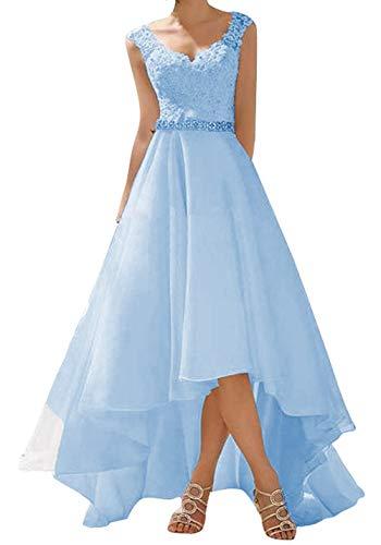 Abito da sposa a campana, in stile vintage/rustico, abito da cerimonia in pizzo, da donna Azzurro 50