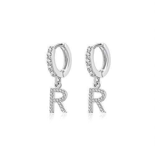 Hedoné - Pendientes de letra R con colgantes iniciales del alfabeto con brillantes cúbicos y aleación plateada - 2 pendientes.
