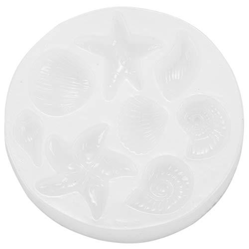 MLXG - Molde de silicona con forma de concha de estrella de mar, de arcilla polimérica, herramientas de decoración de teléfono portátil, bricolaje semitransparente
