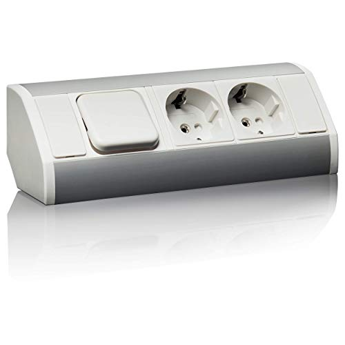 Práctico enchufe de cocina, baño, sala de estar, muebles. Enchufe de esquina ideal para encimera de la cocina como enchufe de montaje o enchufe de base, conector de 15 cm