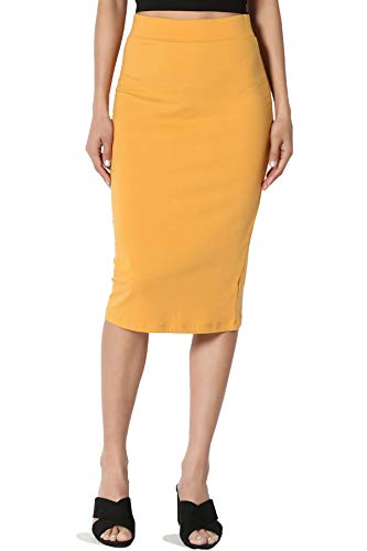 TheMogan Junior's Stretch Cotton Elastic High Waist Pencil Midi Skirt Mustard M