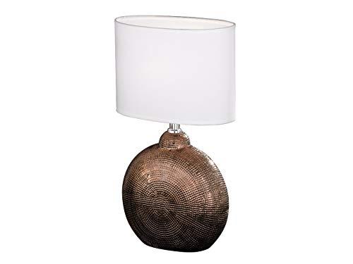 Lámpara de mesa pequeña LED de 36 cm con base de cerámica, color cobre y pantalla ovalada de tela blanca