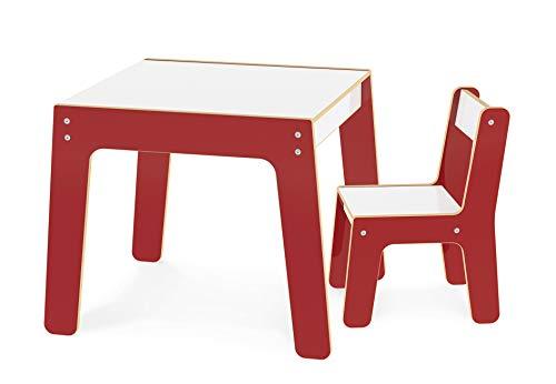 Conjunto Mesa + Cadeira Infantil em MDF, Junges, Vermelho