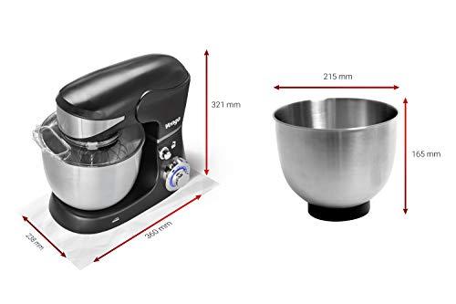 Venga! VG M 3014 Küchenmaschine mit Rührschüssel – 1000W Motor, Kunststoff, Edelstahl, 5L, Schwarz - 7