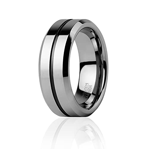 ROQClassic 8mm Tungsten Carbide Wedding Band Ring for Men & 3 Silicone Rings for Work/Sport/Hiking – Engraved Middle Line Style - Size 8
