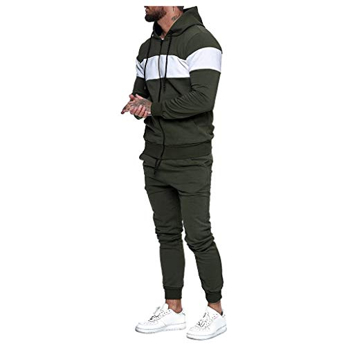 Men's Tracksuit Set Color Block Hoodie 2 Piece Joggers and Pants Athletic Sports Casual Full Zip Sweatsuit Set by Lowprofile (1#Army Green, M)