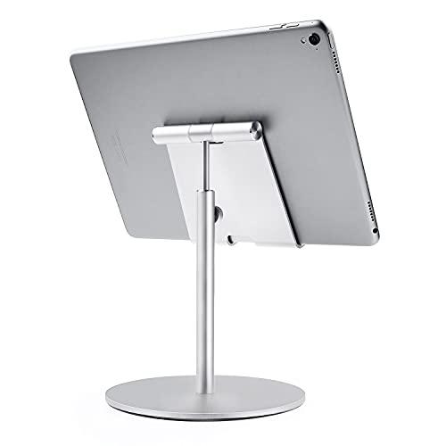 QinCoon Supporto per Tablet, Taglia Larga & Altezza Regolabile Alluminio Supporto, 360° Rotazione Tavolo Porta, Adatto per iPad, Samsung Tab, Kindle (4-13 ) (Argento)