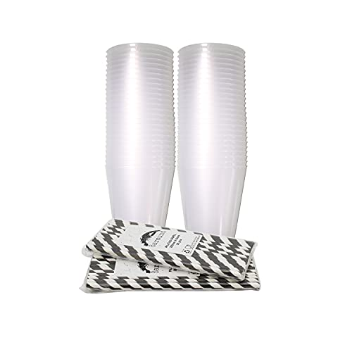 8around 50 Vasos plástico irrompibles flexible reutilizable libre de BPA de 470ml,blanco translucidos,con 50 pajitas de papel,especial coctel mojito cubata agua sidra para fiestas camping play