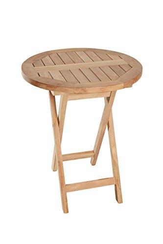 L.C. Wholesaler Teakholz Bistrotisch Riva rund 80 Teak Tisch Klapptisch Gartenmöbel Teakmöbel Gartentisch