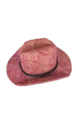 Horror-Shop Jeans chapeau de cow-girl rose regardent