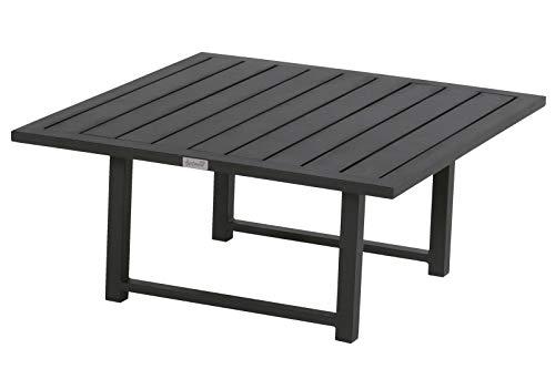 Hartman Tim Kaffeetisch, schwarz aus Aluminium, 90x90x40cm, Beistelltisch Garten, Ablagetisch aus Alu, Outdoor modern