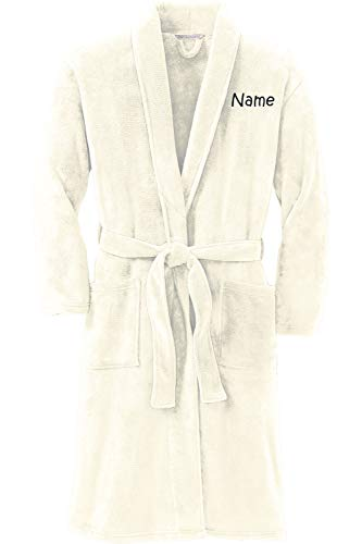 Personalized Plush Microfleece Robe with Embroidered Name, Marshmallow, Large/X-Large