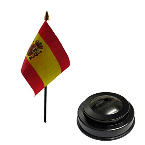 Flagmania Bandera de mesa de escritorio de 15 x 10 cm con base plana de plástico negro