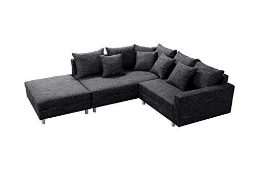 Küchen-Preisbombe Modernes Sofa Couch Ecksofa Eckcouch in Gewebestoff schwarz mit Hocker Minsk L