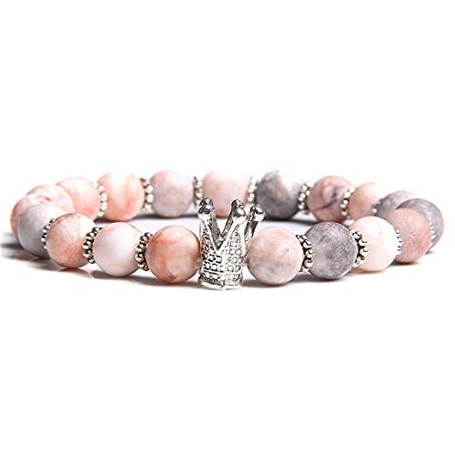 YITIANTIAN Pulsera de Cuentas de Piedra de Cebra Rosa Natural para Mujer, Pulsera de Moda con Cuentas de sandía y aventurina Rosada, joyería, Regalos