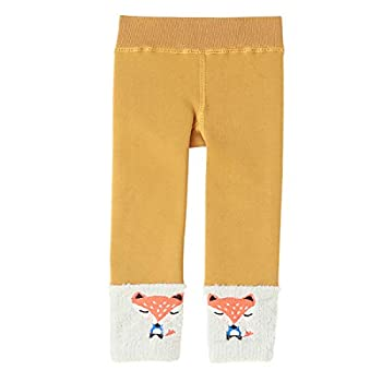 ELEPHANT MONFE Winter Girls Boys Fleece Lined Warm Legging Pants Baby Toddler Kids Thick Cotton Knit Stretchy Tights Tan