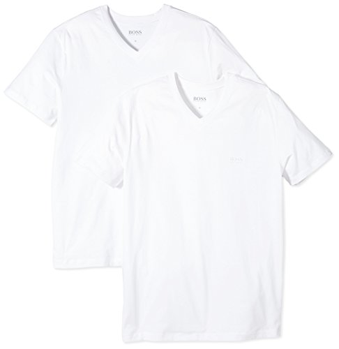 T-shirts Pour Hommes Col V Hugo Boss 2-pack Loose-fit, Blanc Médium