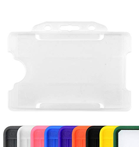 Double sided ID Pass Card Holder Open Face paysage double badge Holders plastique