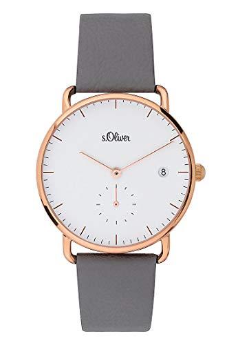 s.Oliver Damen Analog Quarz Uhr mit Leder Armband SO-3714-LQ