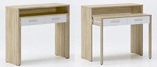 Skraut Home - Bureau Informatique Extensible, Table d´appoint de Studio pour Ordinateur, 2 tiroirs, Blanc et chêne Clair brossé, 98,6x86,9x36-70cm