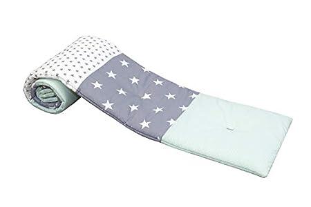 ULLENBOOM Protector para bordes de cuna │ Chichonera bebé también para colecho │ Parachoques de algodón 145 x 24 cm │ menta gris