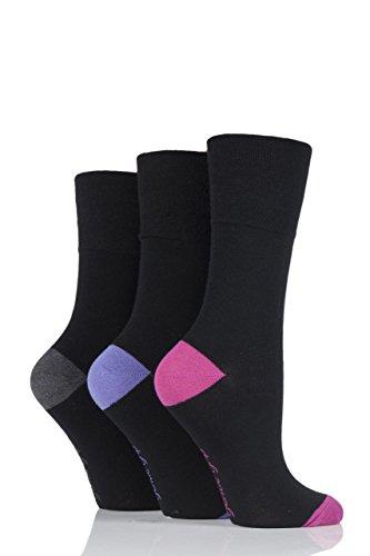 Gentle Grip Damen 3 Paar Kontrast Fersen & Zehen Socken - Schwarz/Kohle 37-41