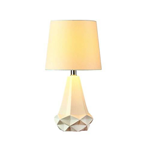 JYDQM Lámpara de mesita de Noche de Dormitorio de Sala de Estar geométrica Irregular Blanca pequeña de cerámica, lámpara de Escritorio Linda con Pantalla de Tela Blanca