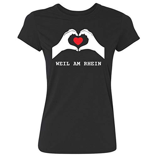 JOllify Weil AM RHEIN G1319 T-shirt pour femme - Noir - Small