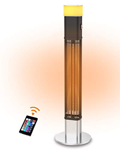 PATIOBOSS Electric Patio Heater, Freestanding Infrared Heater with 16 Colour LED Light and Remote Control, Electric outdoor Heater for Instant Warm, Quiet Operation