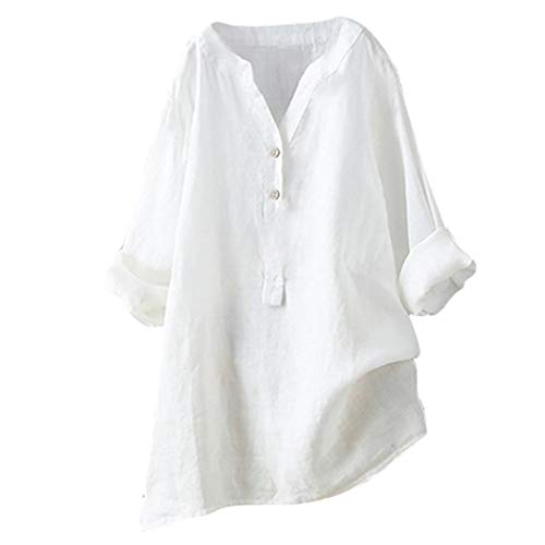 Camisetas Mujer Tallas Grandes Heavy SHOBDW Camisa De Manga Larga con Cuello Alto Blusa Casual Botones con Botones Túnica Suelta Camiseta Solid para Mujer(Blanco,5XL)