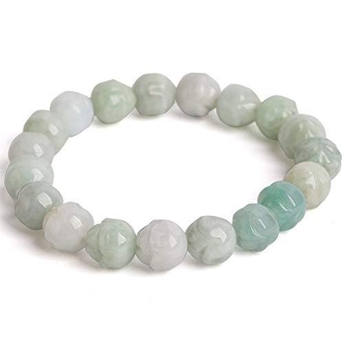 GGMWDSN Pulsera, Jade, Pulseras Piedras Naturales Mujer, Pulsera de Cuentas de Loto de Jade Natural para Damas de Moda Usar como Regalo