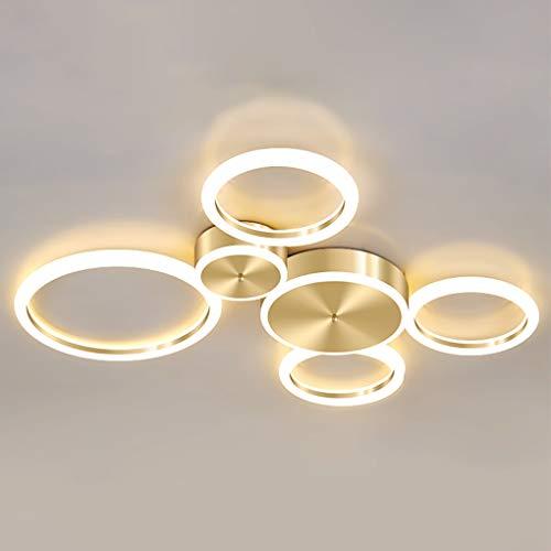 LED Deckenleuchte Dimmbar Wohnzimmer Schlafzimmer Decke Lampe Modern 6-flammig Gold Ring Designer Leuchte 63W Deckenlampe mit Fernbedienung, Lampenschirm Kunststoff Weiß Rund, Zimmer Licht L60×B58cm