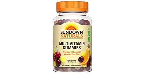Sundown Naturals Adult Multivitamin with Vitamin D3 Gummies Orange, Cherry and Grape Flavored - 120 ct, Pack of 2