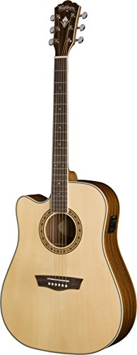 Washburn WD10SCELH - Guitarra electroacústica (para zurdos, tipo dreadnought), color natural